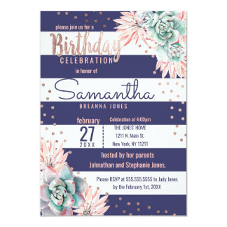 Pink Cactus Navy Stripes Rose Gold Birthday Party Card