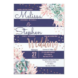 Pink Cactus Navy Stripes Rose Gold Dots Wedding Card