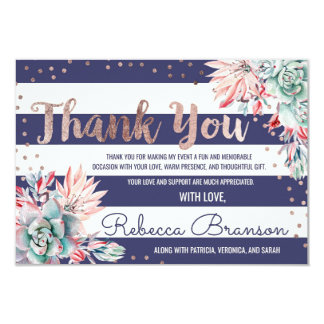 Pink Cactus Navy Stripes Rose Gold Thank You Card