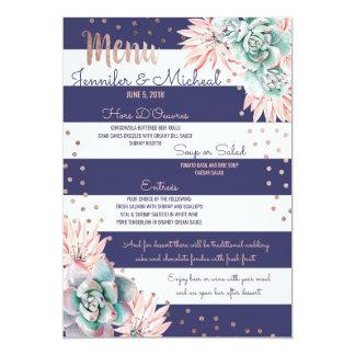 Pink Cactus Navy Stripes Rose Gold Wedding Menu Card
