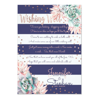 Pink Cactus Navy Stripes Rose Gold Wishing Well Card