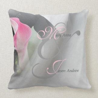 Pink Cala Lily Flourish Wedding Throw Pillow