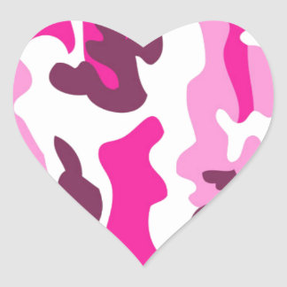 Pink Camo Design Heart Sticker