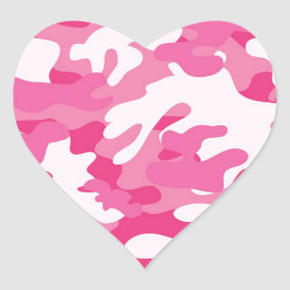 Pink Camo Print Heart Sticker