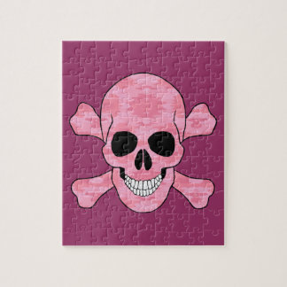 Pink Camouflage Skull And Crossbones Puzzle