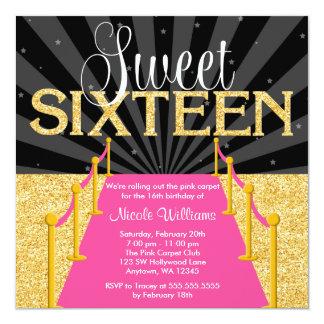 Pink Carpet Gold Glam Hollywood Sweet 16 Birthday 13 Cm X 13 Cm Square Invitation Card