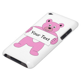 Pink Cartoon Bear with Sign (add your own text) iPod Touch Cases
