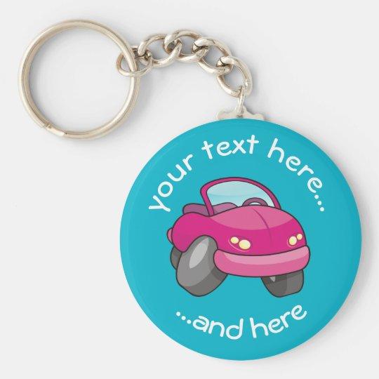 Pink Cartoon Car Basic Round Button Key Ring