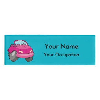 Pink Cartoon Car Name Tag