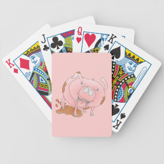 Pink cartoon pig bicycle playing cards