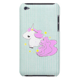 Pink cartoon unicorn with stars iPod Touch iPod Touch Case