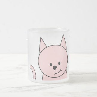 Pink Cat Cartoon Frosted Glass Coffee Mug