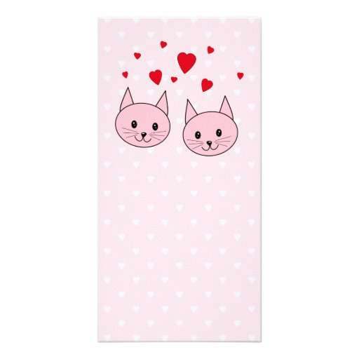 Pink cats with love hearts. photo card template