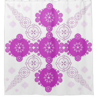 Pink Celtic Fractal Crop Circle Shower Curtain