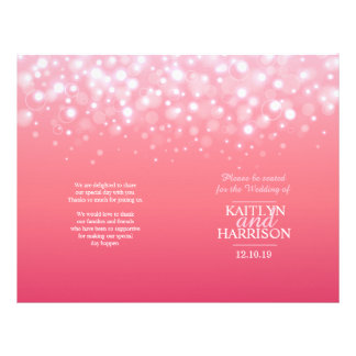 Pink champagne bubble wedding programme