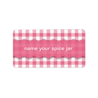 Pink Checkered Design Kitchen Label Address Label