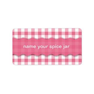 Pink Checkered Design Kitchen Label Address Label