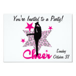 Pink Cheerleader 9 Cm X 13 Cm Invitation Card