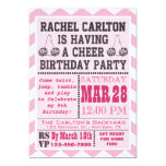 "Pink Cheerleading Birthday Party Invitation 5"" X 7"" Invitation Card"