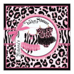 "Pink Cheetah Rock Star Tutu Twins Baby Shower 5.25"" Square Invitation Card"