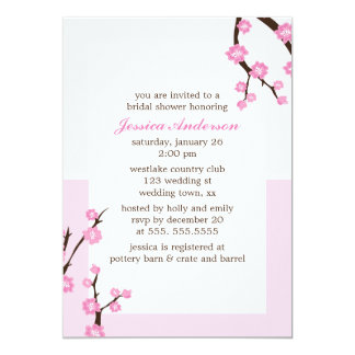 Pink Cherry Blossoms 13 Cm X 18 Cm Invitation Card