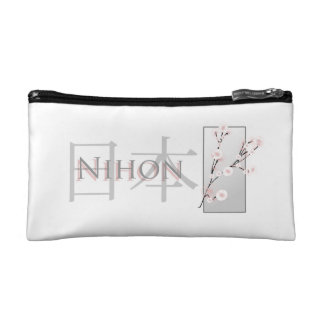 Pink Cherry Blossoms and Text with Kanji: Nihon Cosmetic Bag