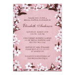 Pink Cherry Blossoms Border Bridal Shower Custom Announcements