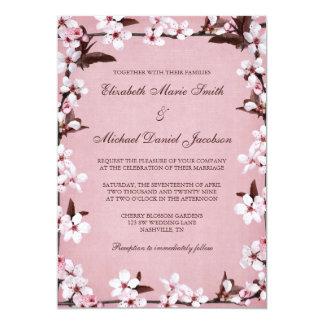Pink Cherry Blossoms Border Wedding 13 Cm X 18 Cm Invitation Card