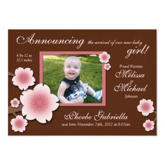 """Pink Cherry Blossoms & Brown Birth Announcements 5"""" X 7"""" Invitation Card"""