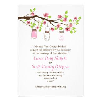 Pink cherry blossoms & mason jars spring wedding 5x7 paper invitation card