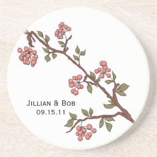 Pink Cherry Blossoms Personalized Coaster