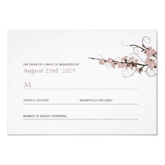 Pink Cherry Blossoms Sakura Swirls Wedding RSVP 9 Cm X 13 Cm Invitation Card