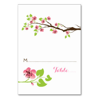 Pink cherry blossoms spring wedding place card