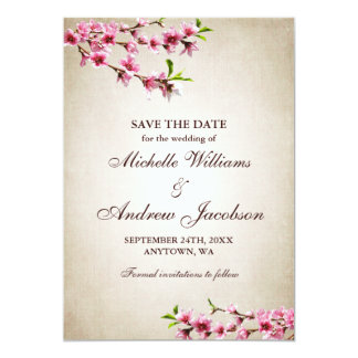 Pink Cherry Blossoms Tan Wedding Save the Date 13 Cm X 18 Cm Invitation Card