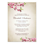 Pink Cherry Blossoms Vintage Tan Bridal Shower Invitations