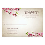 Pink Cherry Blossoms Vintage Tan Response Card 9 Cm X 13 Cm Invitation Card