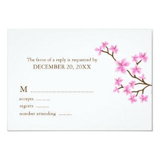 Pink Cherry Blossoms Wedding Response Cards 9 Cm X 13 Cm Invitation Card