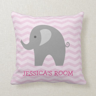 Pink chevron and cute grey elephant nursery pillow