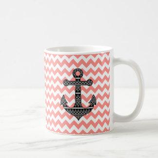 Pink Chevron Black Tribal Pattern Anchor Mugs