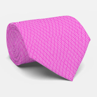 Pink Chevron Foil Pink and White Geometric Pattern Tie