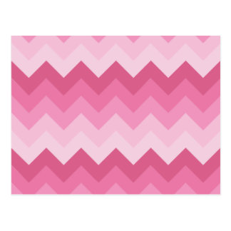 Pink chevron pattern postcard