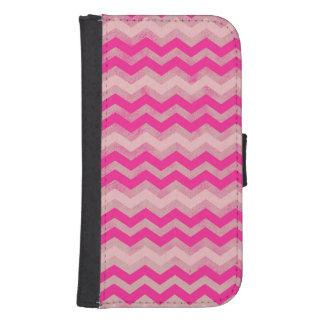 Pink Chevron Zigzag Pattern Samsung S4 Wallet Case
