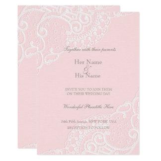 Pink Chic Vintage Elegant Lace Wedding Card