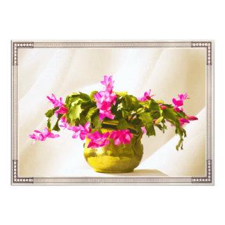 Pink Christmas Cactus Portrait 13 Cm X 18 Cm Invitation Card