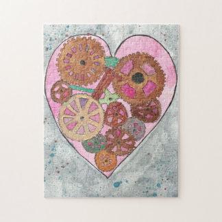 Pink Clockwork Heart 11x14 Photo Puzzle, Gift Box Jigsaw Puzzle