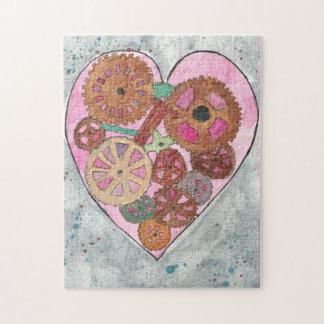 Pink Clockwork Heart 11x14 Photo Puzzle, Gift Box Puzzle