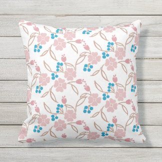 Pink Clover Blue Berry Pattern Outdoor Cushion