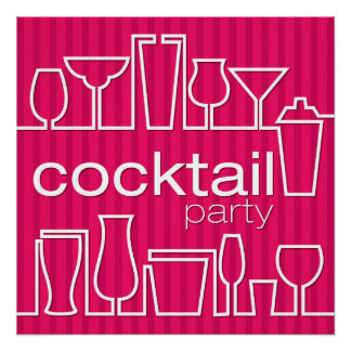 Pink cocktail party poster