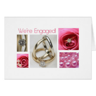 Pink collage engagement announcement