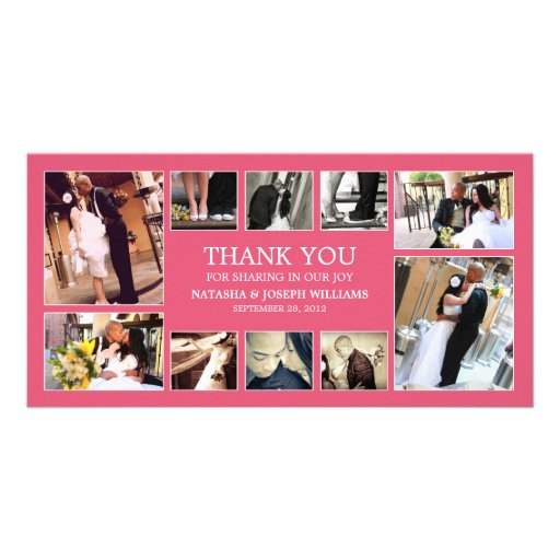 PINK COLLAGE | WEDDING THANK YOU CARD PHOTO CARD TEMPLATE